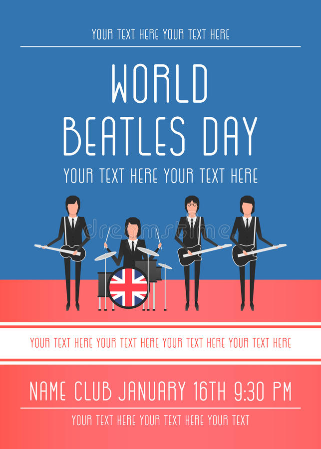 Den Beatles musikbandet royaltyfri illustrationer