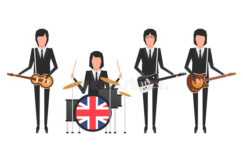 Den Beatles musikbandet stock illustrationer