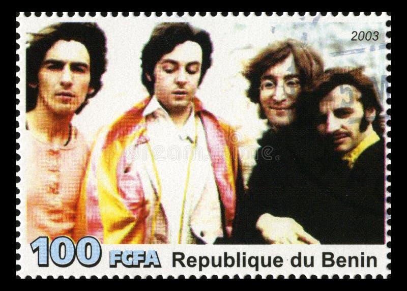 Den Beatles portostämpeln från Benin royaltyfri foto