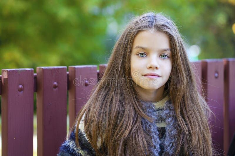 Den Beautifal lilla flickan i hösten parkerar royaltyfri bild