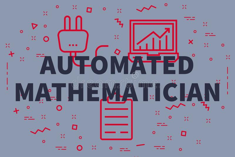 Den begreppsmässiga affärsillustrationen med orden automatiserade mathem vektor illustrationer