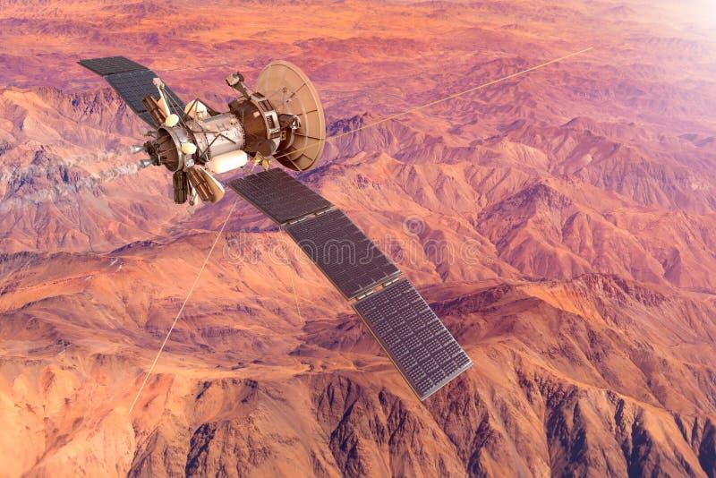 Den begreppsmässiga bilden av ett rymdskepp som undersöker, fördärvar royaltyfri illustrationer