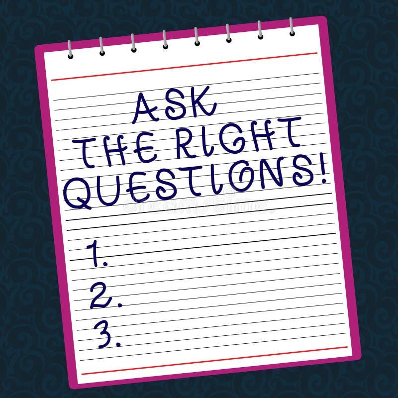 Den begreppsmässiga handhandstilvisningen frågar de högra frågorna Affärsfototext som korrekt frågar för förklaringskuriositet arkivbild