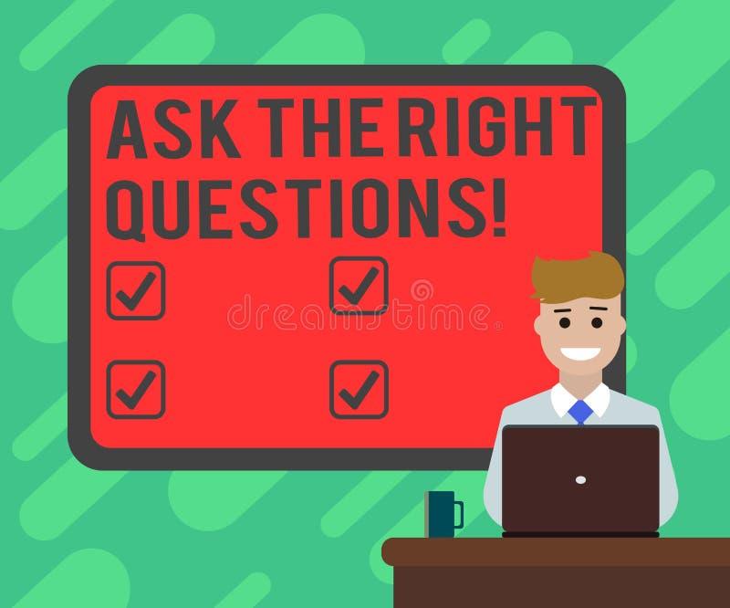 Den begreppsmässiga handhandstilvisningen frågar de högra frågorna Affärsfototext som korrekt frågar för förklaringskuriositet royaltyfri illustrationer