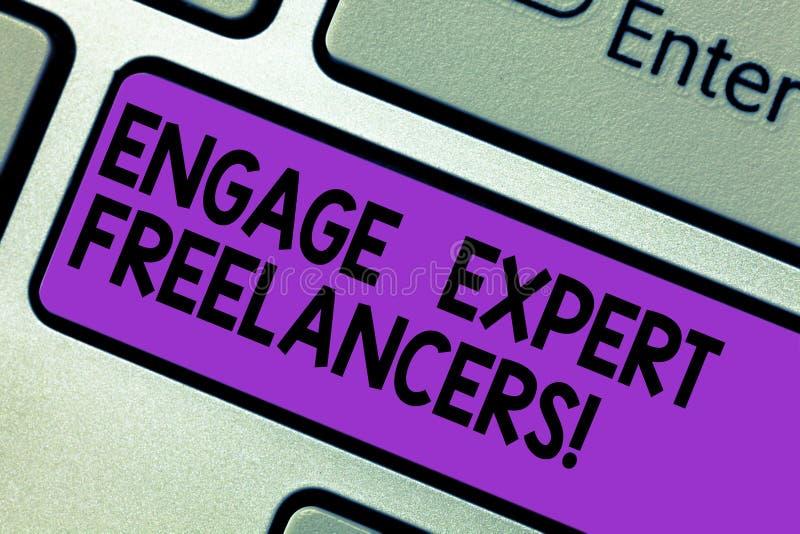 Den begreppsmässiga handhandstilvisningen kopplar in sakkunniga Freelancers Affärsfototext som hyr kompetenta leverantörer för et vektor illustrationer