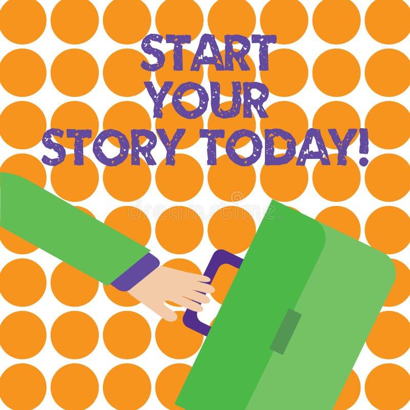 Den begreppsmässiga handhandstilvisningen startar din berättelse i dag Affärsfoto som hårt ställer ut arbete på dig och att börja stock illustrationer