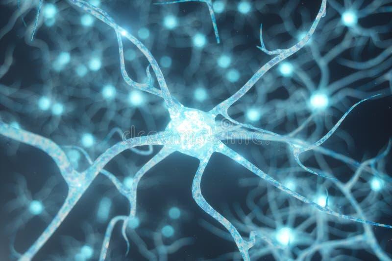 Den begreppsmässiga illustrationen av neuronceller med glödande sammanlänkning knyter Synapse- och Neuronceller som överför den e royaltyfri illustrationer