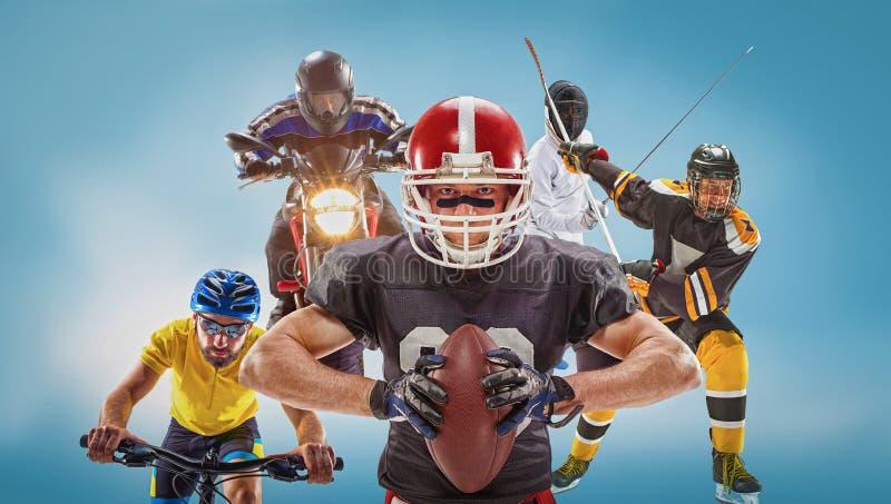 Den begreppsmässiga mång- sportcollaget med amerikansk fotboll, hockey, cyclotourism, fäktning, motorisk sport arkivbild