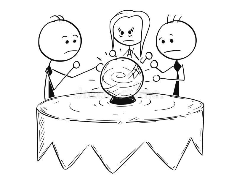 Den begreppsmässiga tecknade filmen av affärsfolk förutsäger framtid från CR vektor illustrationer