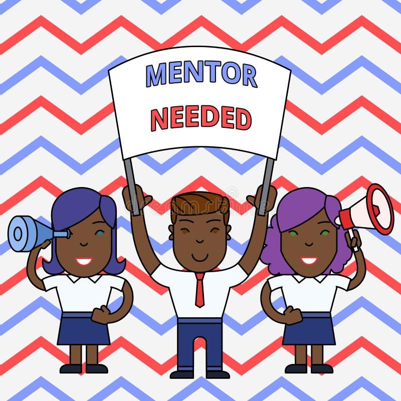 Den begreppsm?ssiga mentorn f?r handhandstilvisningen beh?vde Affärsfoto som ställer ut önskad hjälp för mer erfaren eller mer vektor illustrationer