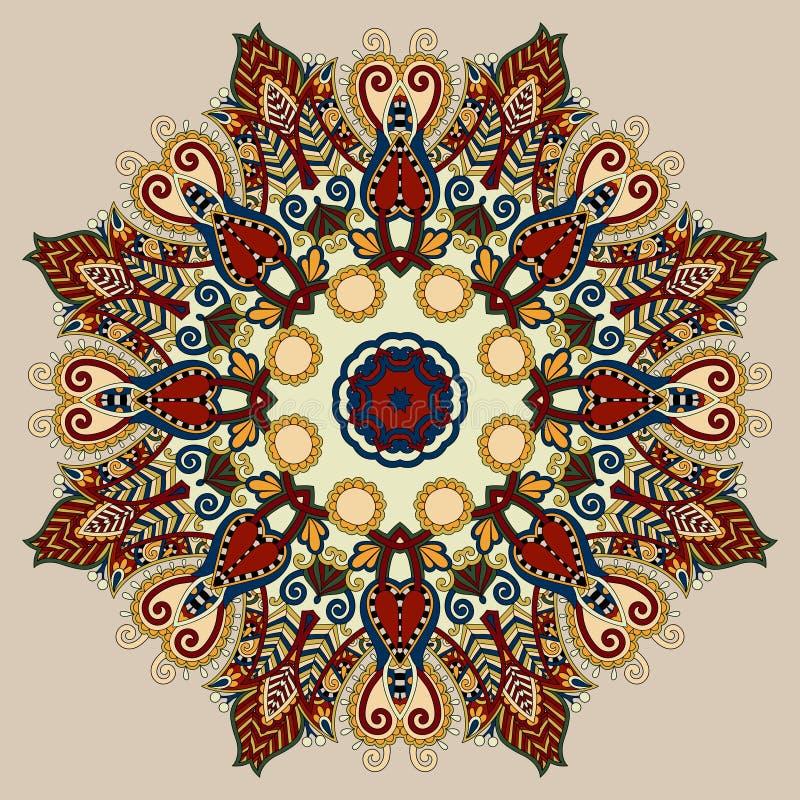 Den beigea färgmandalaen, cirklar den dekorativa negro spiritual vektor illustrationer