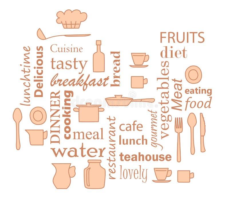 Den beigea vektorn - uttrycka collage för kök med kitchenwareobjekt royaltyfri illustrationer