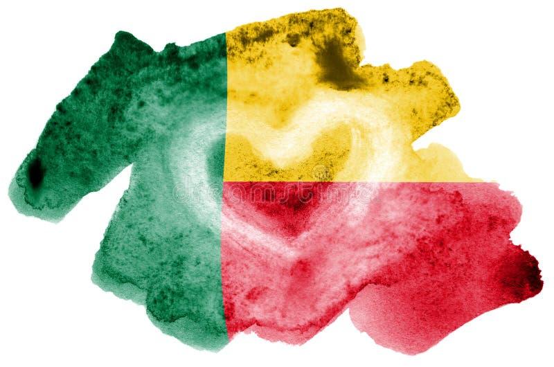 Den Benin flaggan visas i vätskevattenfärgstil som isoleras på vit bakgrund fotografering för bildbyråer
