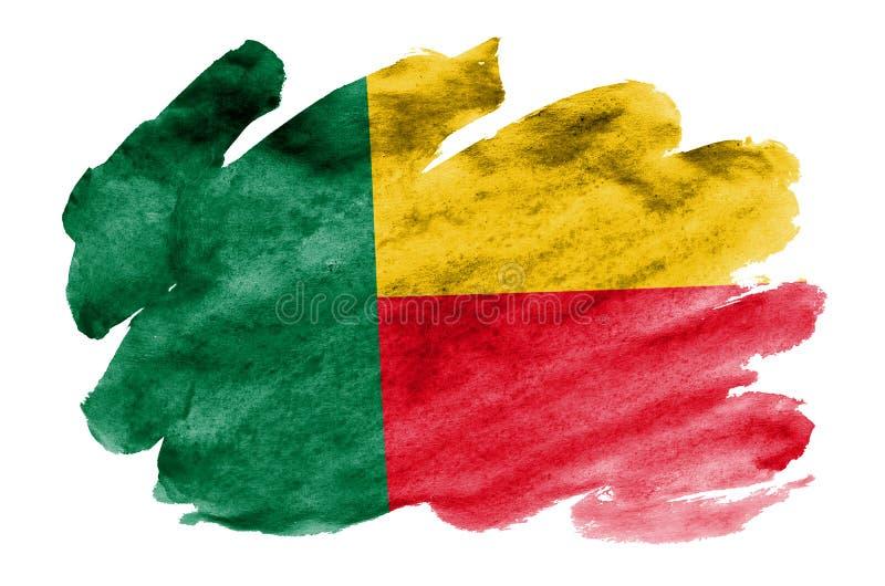 Den Benin flaggan visas i vätskevattenfärgstil som isoleras på vit bakgrund royaltyfri bild