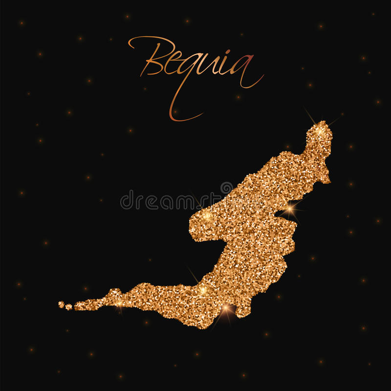 Den Bequia översikten som fylls med guld-, blänker stock illustrationer