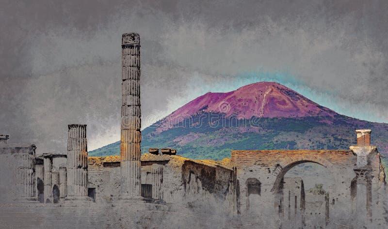 Den berömda antika platsen av Pompeii, nära Naples stock illustrationer