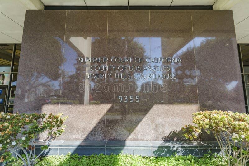 Den berömda Beverly Hills domstolsbyggnaden fotografering för bildbyråer