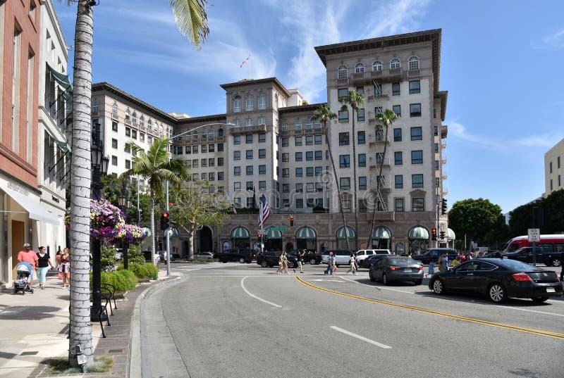 Den berömda Beverly Wilshire Hotel arkivbild