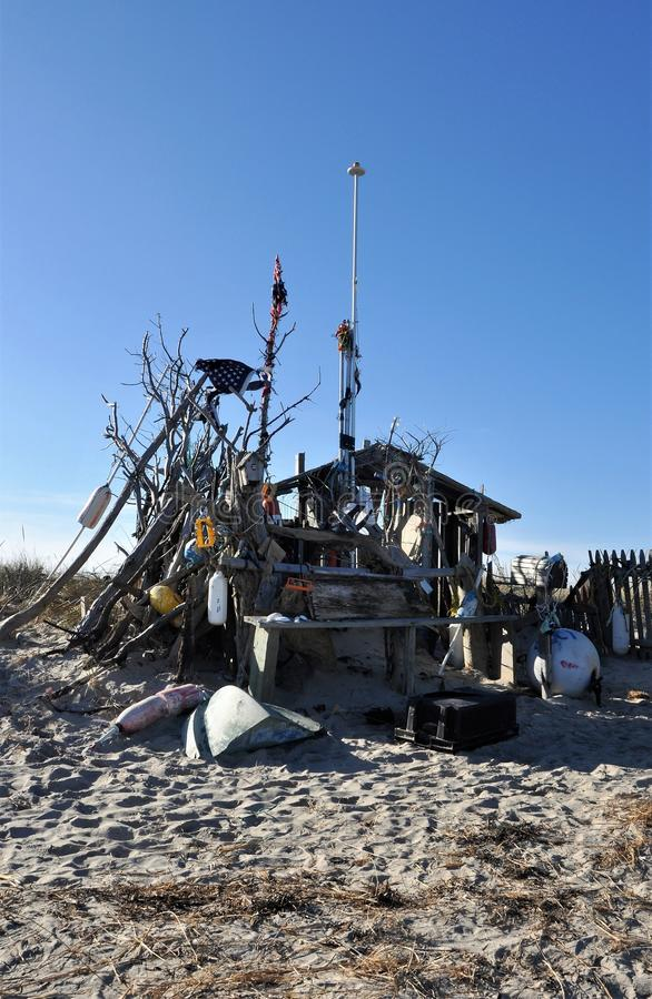 Den berömda Chatham strandhyddan royaltyfria foton