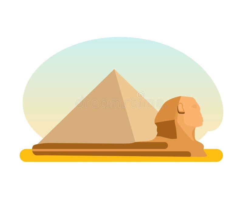 Den berömda forntida egyptiska pyramiden av Cheops och sfinxen royaltyfri illustrationer
