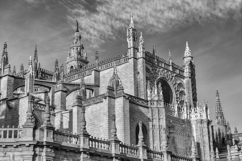 Den berömda gotiska domkyrkan av Seville Sevilla, Spanien royaltyfria bilder