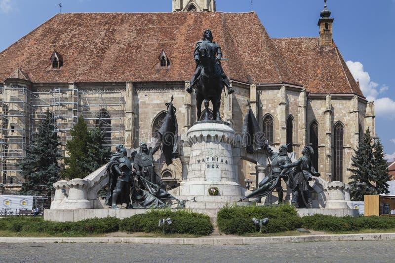 Den berömda Mathias Rex statyn på Augusti 21, 2018 i Cluj-Napoca royaltyfria foton