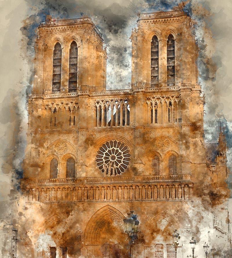 Den berömda Notren Dame Cathedral i Paris arkivbilder