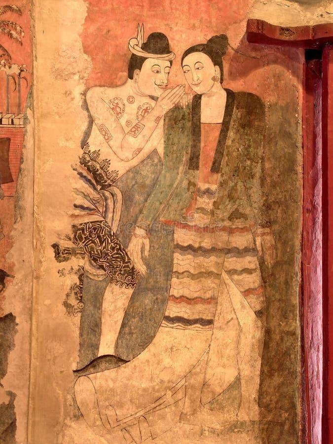 Den berömda vägg- målningen i den forntida buddistiska templet - Wat Phumin, Nan landskap, Thailand stock illustrationer