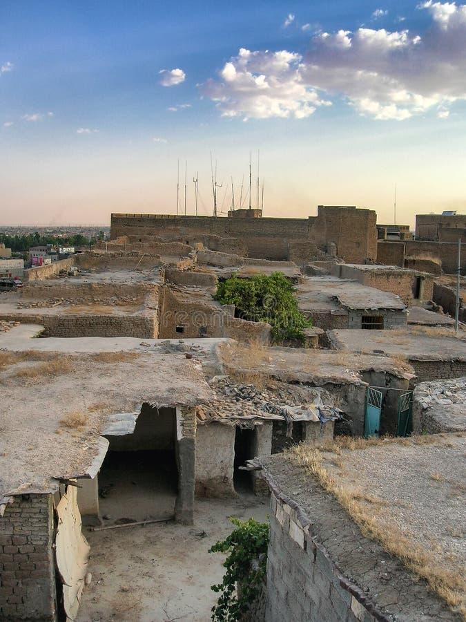 Den ber?mda citadellen av Erbil, Kurdistan Lokalt mitt arkivfoton