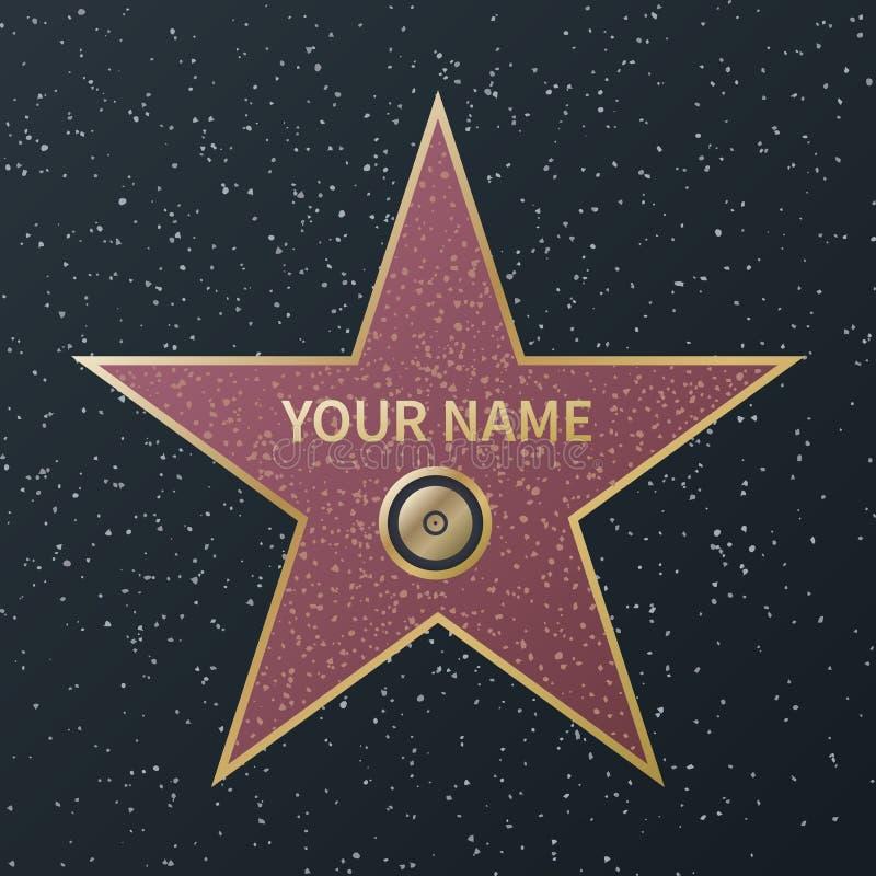 den ber?mmelsehollywood stj?rnan g?r Utmärkelse för filmkändisboulevard, granitgatastjärnor av berömda actororrframgångfilmer royaltyfri illustrationer