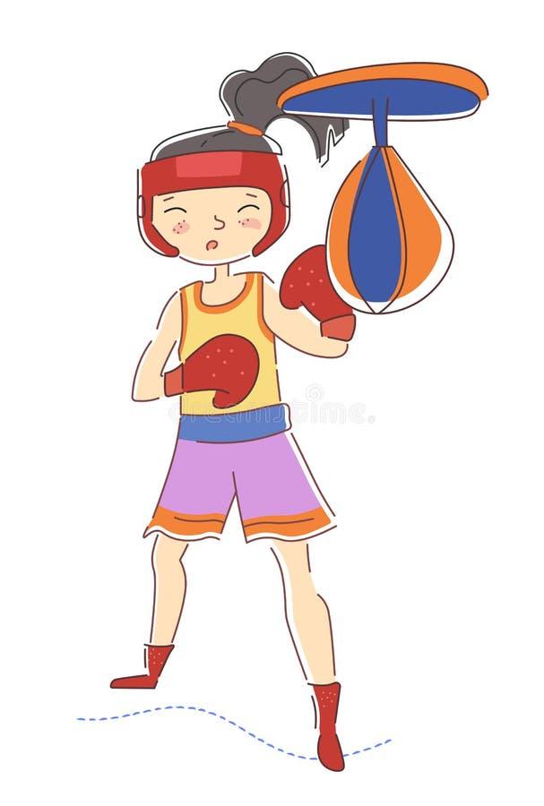 Den bestämda ung flickaboxaren bära färgrika röda boxas handskar utarbeta i stansa för idrottshall pucklar på påsen som isoleras  vektor illustrationer