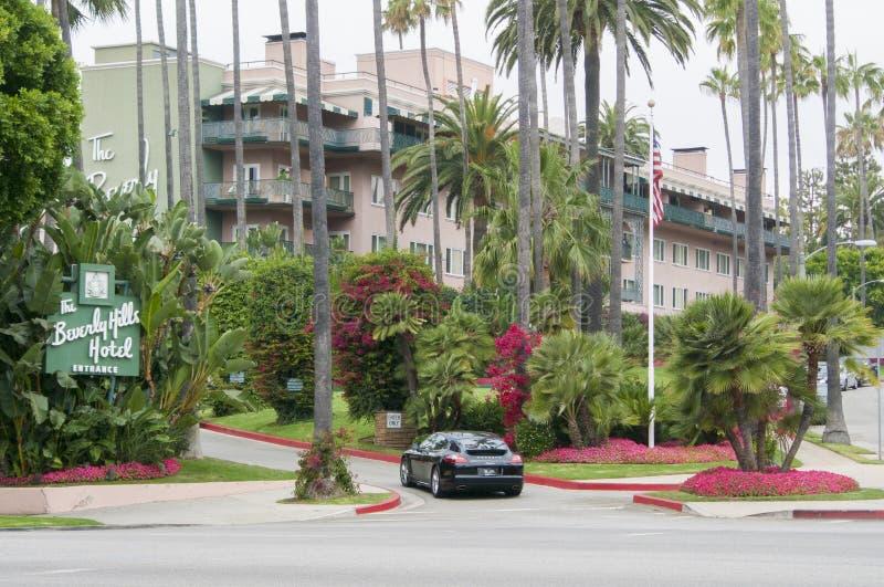 Den Beverly Hills hotellingången Los Angeles Förenta staterna Detta hotell är berömt för hans härliga läge fotografering för bildbyråer