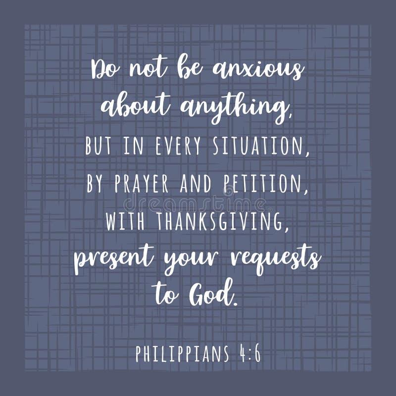 Den bibliska scripturevers från Philippians, är inte den angelägna aboen vektor illustrationer