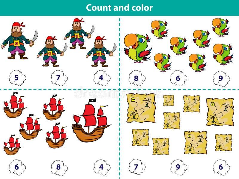 Den bildande leken för förskole- barn räknar och färgar cirkeln med korrekt svar Uppsättningen av tecknade filmen piratkopierar t stock illustrationer