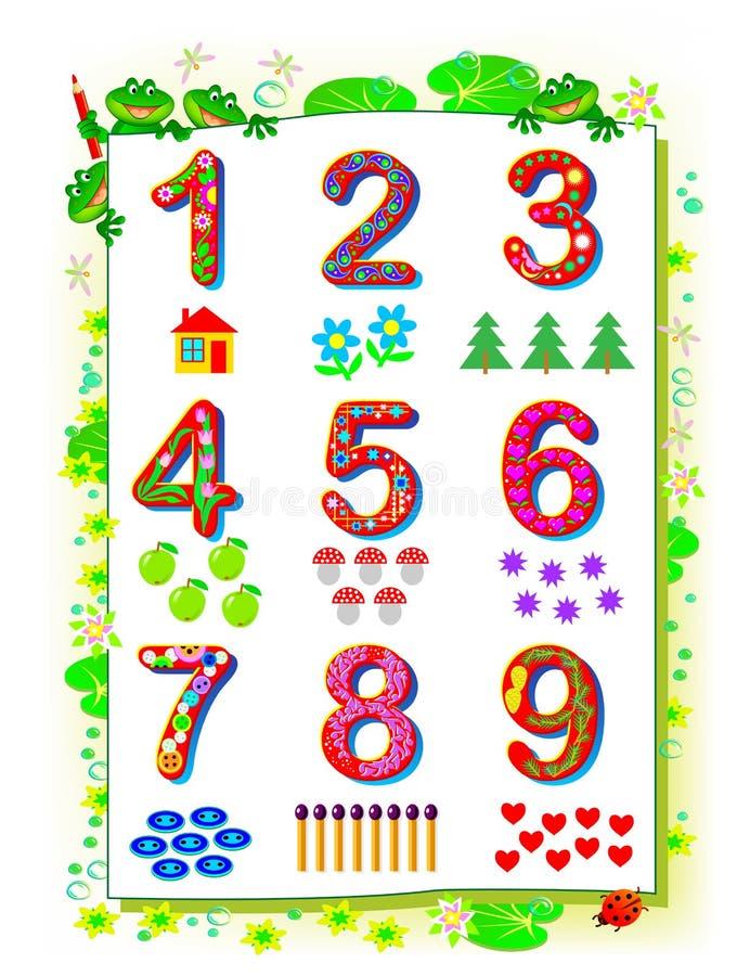 Den bildande sidan för behandla som ett barn boken Ställ in av roliga nummer från 1 till 9 Tryckbar arbetssedel f?r ungel?robok vektor illustrationer