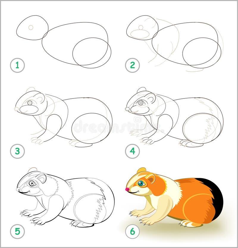 Den bildande sidan för ungar visar hur man lär stegvis att dra en gullig försökskanin tillbaka skola till Framkallande barnexpert stock illustrationer