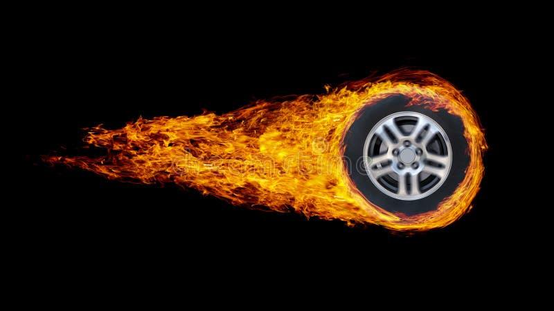 Den bilhjulet eller cirkeln packade in i flammor som isolerades på svart backgr royaltyfria bilder