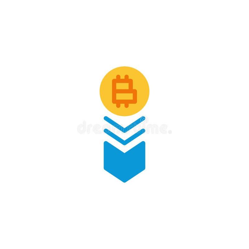 Den Bitcoin hastigheten faller ner den plana symbolen vektor illustrationer