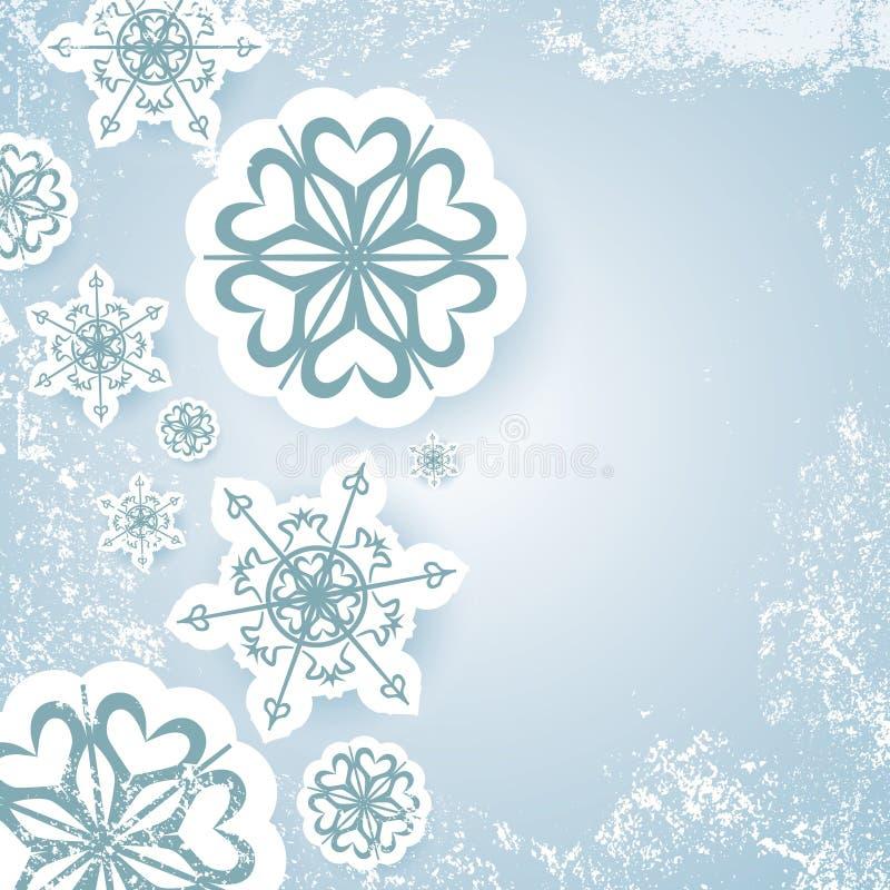 Den blåa abstrakta julbakgrundsvektorn med snöflingan och vit snöar grunge vektor illustrationer