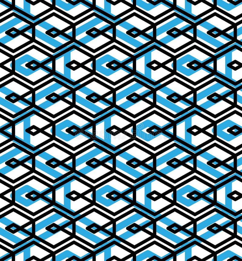 Den blåa abstrakta sömlösa modellen med väver samman linjer Orange vektor vektor illustrationer