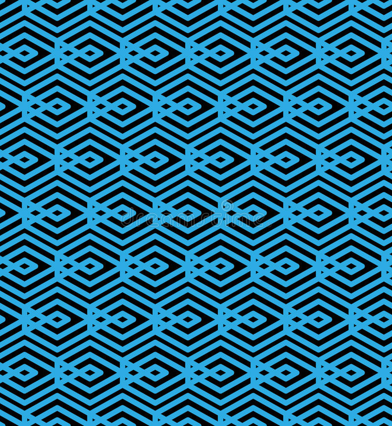 Den blåa abstrakta sömlösa modellen med väver samman linjer Orange vektor royaltyfri illustrationer