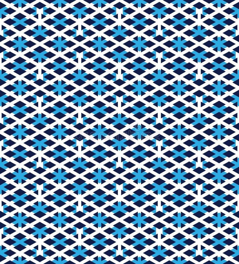 Den blåa abstrakta sömlösa modellen med väver samman linjer Vektorove vektor illustrationer