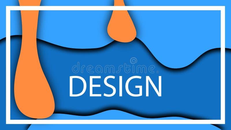 Den blåa apelsinen tappar den volymetriska illustrationen för djup Vätskevektorvätska, sikt 3D royaltyfri illustrationer