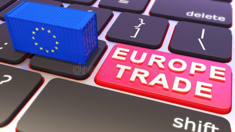 Den blåa behållaren med europen flaggan Tangentbordet med handlar knappen Illustrationer för begrepp 3d royaltyfri illustrationer