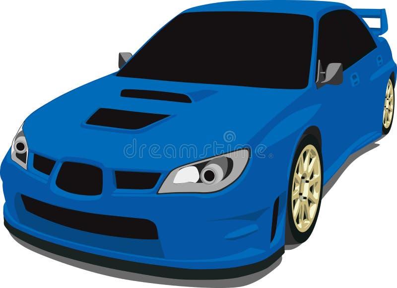 den blåa bilen samlar subaru royaltyfri illustrationer