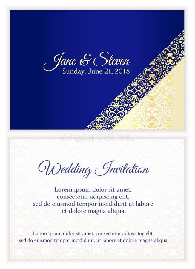 Den blåa bröllopinbjudan med lyxigt guld- snör åt royaltyfri illustrationer