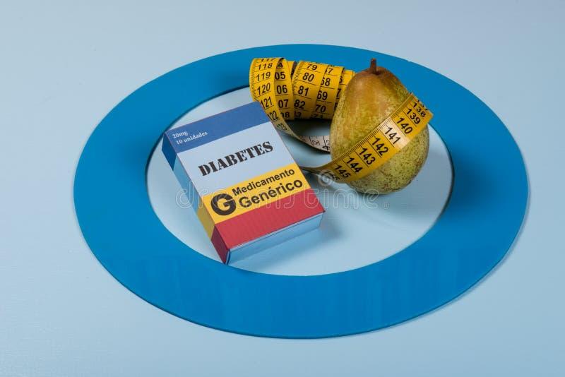 Den blåa cirkeln med någon sockersjukautrustning gör behandling sjukdomen arkivfoto