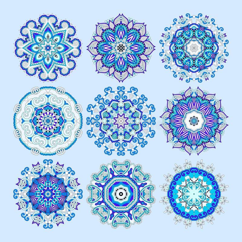 Den blåa cirkeln snör åt prydnaden, rund dekorativ geometrisk doilypatt vektor illustrationer