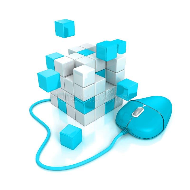 Den blåa datormusen förbinder till kuber strukturen stock illustrationer