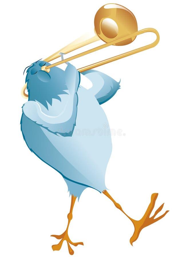 Den blåa fågeln gör musik med trombonen arkivbild